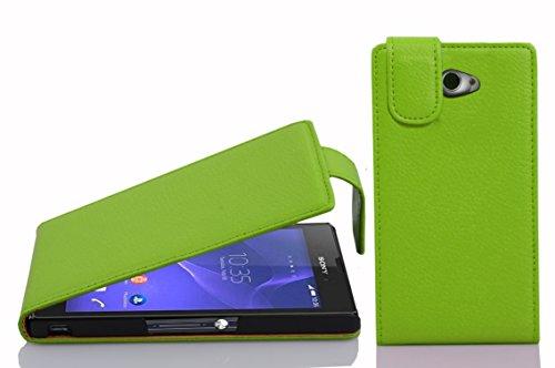 Cadorabo Hülle für Sony Xperia M2 / M2 Aqua in Apfel GRÜN - Handyhülle im Flip Design aus Strukturiertem Kunstleder - Hülle Cover Schutzhülle Etui Tasche Book Klapp Style