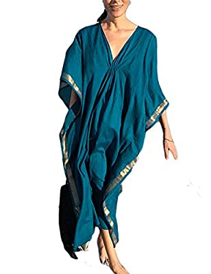 Ailunsnika Womens Plus Size Batwing Sleeve Turkish Kaftan Long Dress V Neck Bikini Bathing Suit Cover Ups Peacock Blue