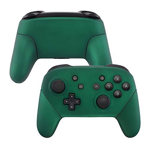 eXtremeRate Carcasa Agarre para Nintendo Switch Pro Funda Delantera Trasera Asa Shell de Tacto Suave Grip de reemplazo para Control Nintendo Switch Pro-No Incluye el Mando(Racing Green)