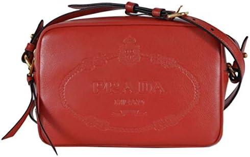 Prada Embossed Logo Red Glace Calf Leather Crossbody Camera Bag 1BH089 product image