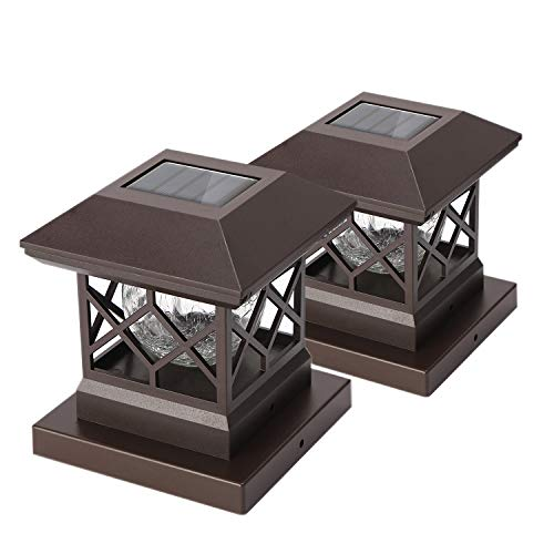 Twinsluxes Fence Post Cap Light, LED Solar Lights for Deck Posts, Solar Post Caps Light Outdoor for 3.5x3.5/4x4/5x5 Posts, Wood or Vinyl Fence Deck Post, Warm Light 2 Pack, Brown