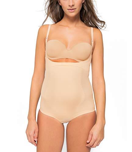 Kasheer ShapeBody | Shapewear Damen Figurformender Bauchweg Body | Unterwäsche Bodysuit | Tiefer Ausschnitt für eigenen BH (46/48, Haut)
