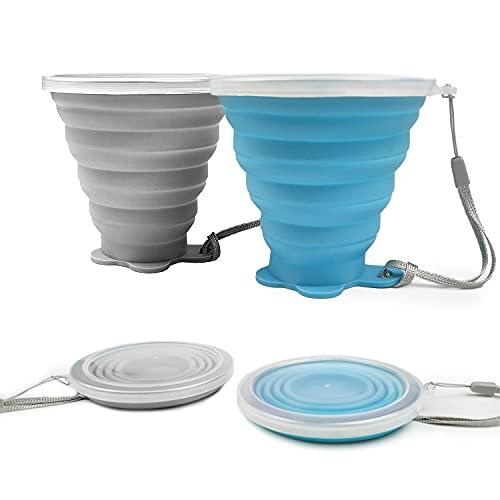 ddLUCK Faltbare Silikon-Becher, 2 Stück, BPA-frei, faltbare Reisebecher, faltbare Silikon-Becher mit Kunststoff-Deckel, wiederverwendbar, tragbares Tassen-Set für Picknick, Camping, Wandern, Reisen
