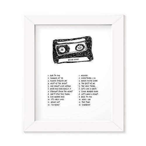 Poster con cornice di Bryan Adams, testo della canzone della band e testi dell'album, con stampa originale a cassetta