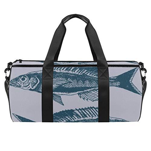 Long Fish Gills Sports Gym Bag Cylindrical Travel Duffel bag with Wet Pocket Lightweight workout bag Travel with Shoulder Strap for men women