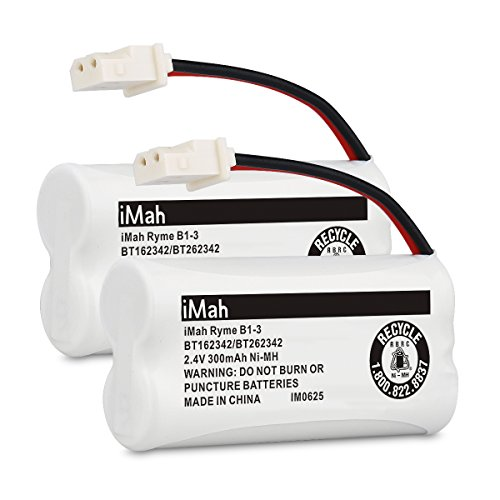 iMah BT162342/BT262342 2.4V 300mAh Ni-MH Cordless Phone Batteries Compatible with VTech CS6719 CS6409 CS6419 CS6429 CS80100 AT&T CL81101 EL5210 EL52400 Handset Telephone, Pack of 2