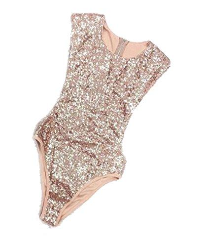 YOLI Women's Shimmer Glam Sequin Embellished Sparkle Sleeveless Round Neck Tank Top Vest Tops Gold