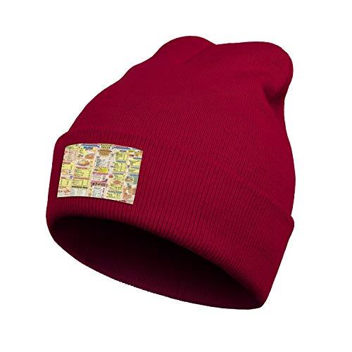 Unisex Waffle-House-Menu-Good-Food-Fast- Beanie Hat Cuffed Plain Knit Hat Cap
