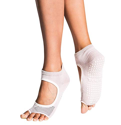 Tucketts Allegro Toeless Non-Slip Grip Socks, Made in Colombia, Mary Jane Style Perfect for Yoga, Barre, Pilates, Small-Medium 1 Pair, Blush Ascent