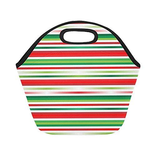 JOCHUAN isolé Neoprene Lunch Bag Thème de Noël Thème Couleur Rouge Vert Rayé Grande Taille Réutilisable Thermique Épais Sacs De Déjeuner Thermique pour Les Boîtes À Lunch pour À L'extérieur