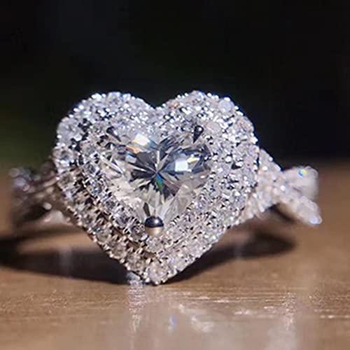 SHIYONG Anillo romántico de boda de compromiso anillo de corazón para las mujeres Twist Band versátil moda accesorios femeninos regalo