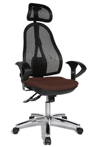 Topstar OP290UG08X Open Point SY Bürostuhl, Schreibtischstuhl, Syncro-Bandscheiben-Drehstuhl, inkl. höhenverstellbare Armlehnen und Kopfstütze, Bezugsstoff dunkelbraun