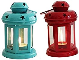 Good Will Crafts Diwali Home Decoration Iron Table/Hanging Lantern, Color Red & Blue, Pack of 2 Pc Size :- (7 inch x 3.6...