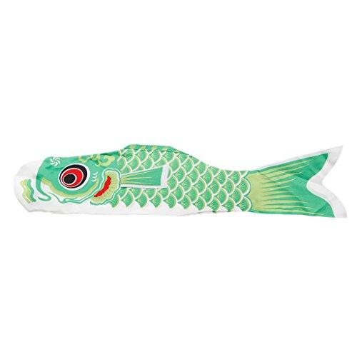 Lamdoo Koi Nobori Karpfenwindsocken, 70 cm, bunt, Fischflagge, zum Aufhängen, Wanddekoration, Grün