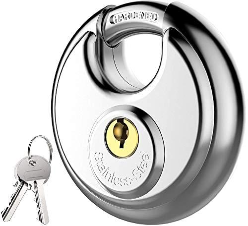Lanboo Vorhängeschloss mit Schlüssel, Diskusschloss aus Edelstahl mit 9,5-mm-Schäkel für Schuppen, Lagereinheit, Garagen und Zau (70mm)