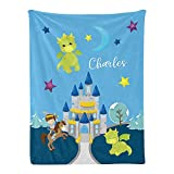 Personalized Baby Blanket Dragons & Knight Custom Nursery Swaddling Blankets 30x40 Inches for Baby Boy Girl with Name for Baby Shower Birthday