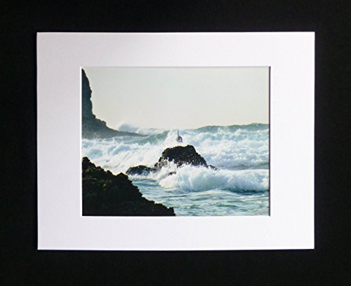 Seagull Beach Decor Pounding Surf Ocean Waves Photographic Print Teal White and Black Nature Photography Ready to Frame Wall Art 8x10 Photographic Print in 11x14 Beveled Mat