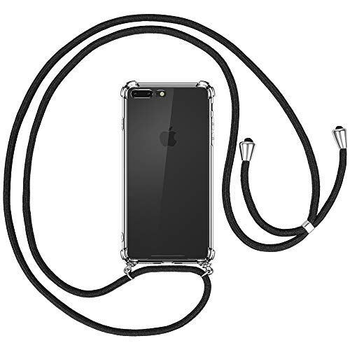 opamoo Funda con Cuerda para iPhone 8 Plus, Carcasa TPU Transparente Suave iPhone 7 Plus Silicona Casecon Correa Colgante Ajustabl Manos Libres Collar Correa de Cuello Funda para iPhone 8 Plus/7 Plus