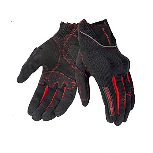 Guantes de Moto de Verano Guantes Transpirables Moto Pantalla táctil Motocross Guantes Todoterreno Guantes de Montar en Moto-B1 Red-3-XXL