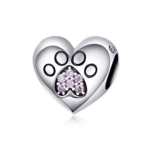 CHENGMEN Heart Shape Engraved Dog Paw with Pink CZ Paved Charm 925 Sterling Silver Bead Charms Fits European Bracelets Jewellery