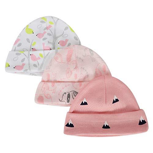 LACOFIA pasgeboren baby jongens meisjes katoen bedrukt beanie hoed unisex kleine kinderen top knoop muts 0-6 maanden verpakking 3