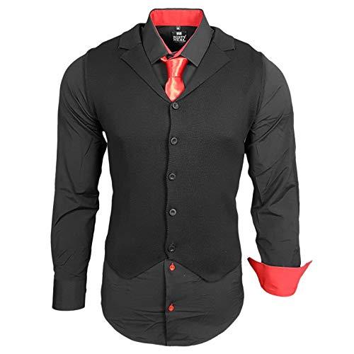 Rusty Neal Herren Hemd Weste Krawatte Set Hemden Business Hochzeit Freizeit Slim Fit, Größe:M, Farbe:Schwarz/Rot