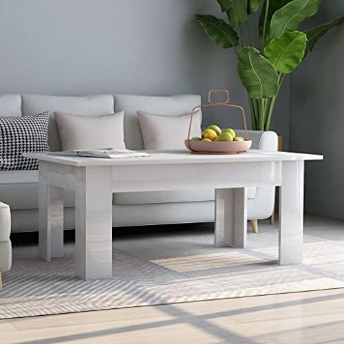 Accentbord soffbord högglans vit 100 x 60 x 42 cm spånskiva
