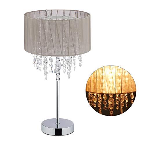 Relaxdays tafellamp kristal, lampenkap van organza, ronde voet, bedlampje, HxD: 43 x 24 cm, grijs/zilver