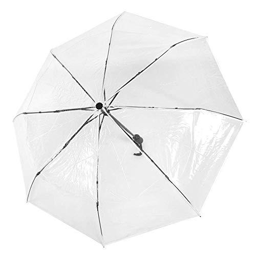 Mumusuki Ombrello da Pioggia Pieghevole per Tre Pieghe Automatico Trasparente alla Moda Portatile di Alta qualità per Esterno