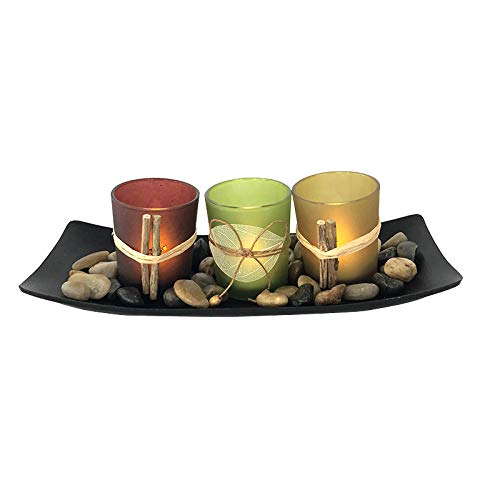 Hrsptudorc Direct Natural Candle Scape Set 3 Candlestick Cup Decorative Candle Holders with Rocks and Tray Wedding Bar Decoration Crafts Candlestick