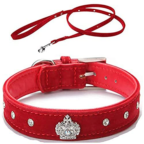 AFSDF Collar Ajustable Rhinestones Pet Cat Dog Crown Colllar Soft Velvet Correa y Conjunto de Cuello
