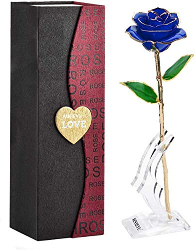 MNIEYU Gold Rose 24K Plated Gold Dipped Rose, Forever Long Stem Rose Flowers with Stand,Romantic Gift for Valentine's Day and Anniversary, Best Gifts for Her, Wife,Girlfriend, Mothers Day,Birthday