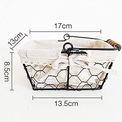 MJYT Vintage Wrought Iron Storage Basket manually Woven Bathroom Kitchen Storage Basket Fruit Bread Basket Desktop Basket