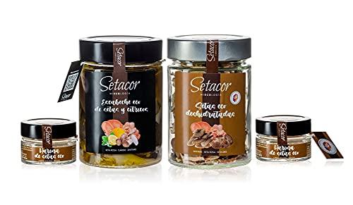 SETACOR Pack Gourmet Ecológico de Setas deshidratadas, en escabeche y en polvo incluye shiitake, setas rosa, gris, amarillas y cardo