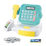 QWEDFG Supermarket Till Kids Cash Register Toy Gift Set Child Boys and Girls Shop Role Play Gifts (Without Battery) (Verde)