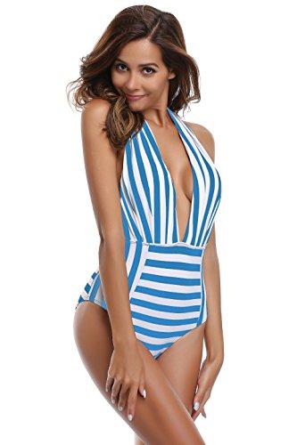 SHEKINI Mujer V-Cuello Bañador Almohadillas Trajes de Baña Halter de una Pieza Monokini (Azul de Rayas, XX-Large)