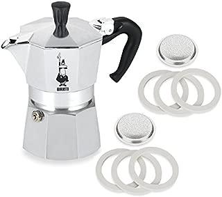Original Bialetti 1-Espresso Cup Moka Express | Espresso Maker Machine and Genuine Bialetti, Six Replacement Gaskets and Two Bialetti Replacement Filter Plates Bundle (1-cup, 2.0 fl oz, 60 ml)
