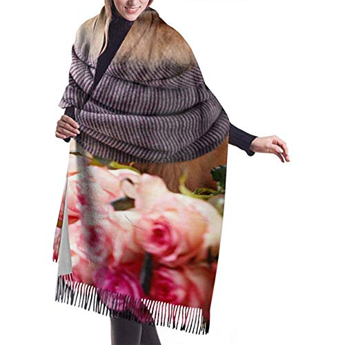 Archiba Winter Schal Cashmere Feel Pomeranian Hund Schal Lila Rosen auf Schals Stilvolle Schal Wraps Weiche warme Decke Schals für Frauen