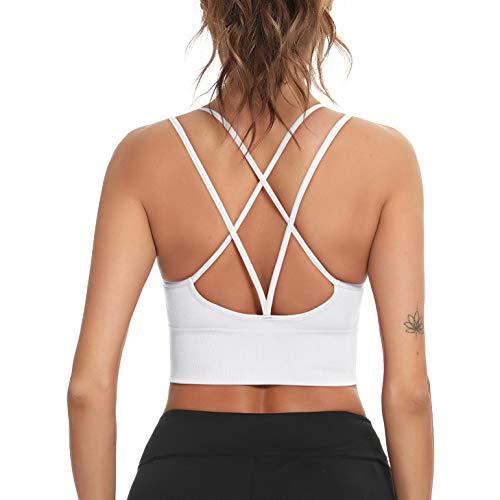 Enjoyoself Damen Sport BH Ohne Bügel Nathlos Verkreuzt Leicht Halt Bra Gepolstert Atmungsaktiv Bustier Top für Yoga Fitness