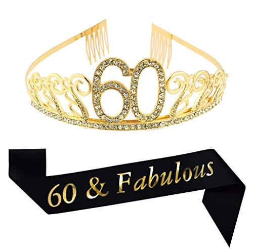 60th Birthday Gold Tiara and Sash, Glitter Satin Sash and Crystal Rhinestone Tiara Birthday Crown for 60th Birthday Party Supplies Favors Decorations 60th Birthday Cake Topper