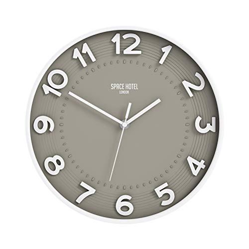 Space Hotel London  Meteor Mike Reloj de Pared silencioso con Esfera Aradic 3D y un Moderno Acabado Mate - 30cm (Blanco/Gris)