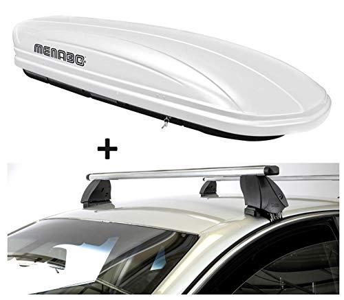 Dakbox VDPMAA320 320 liter afsluitbaar wit + dakdrager K1 PRO aluminium compatibel met Hyundai i10 (IA) (5-deurs) vanaf 13