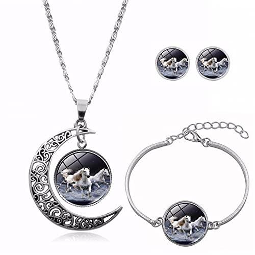 WDBUN Collar Colgante Joyas New Time Gemstonestone Media Luna Collar Pulsera Pendiente Conjunto Decoración Navidad cumpleaños Regalo(Imagen Personalizable)