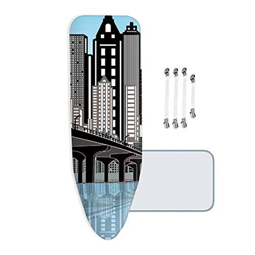 ZYRSMM strijkplankovertrek, met 4 mm dik vilt, stadsgebouwen, met 4 clips, geschikt voor alle grote en bijzonder grote strijkplanken
