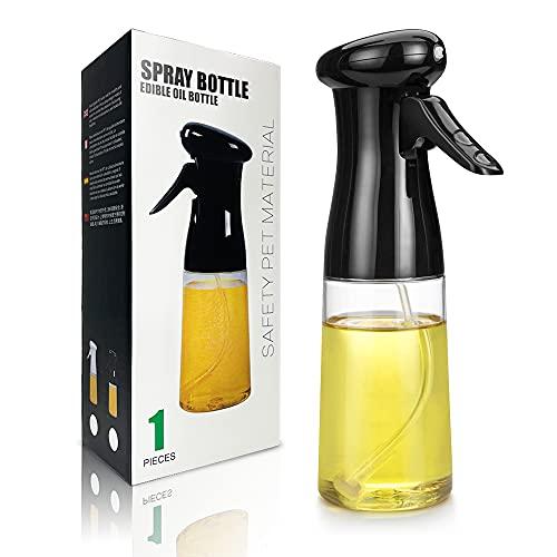 Portable Oil Dispenser Bottle Spray Mister, Olive Oil Sprayer for Cooking - 210ml Refillable Food Grade Oil Vinegar Spritzer Sprayer Bottles (Black)