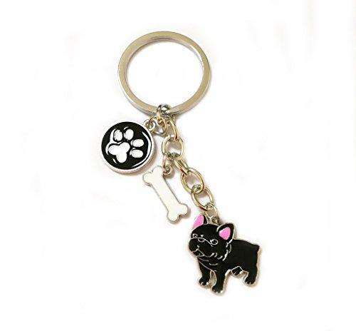BbearT® hond tag hond sleutelhanger sleutelhanger sleutelhanger, schattig kleine hond puppy ID tags metalen hond sleutelhanger sleutelhanger sleutelhanger sleutelhanger sleutelhangers auto sleutelhanger tas charme verjaardag, small, Black French Bulldog 2#