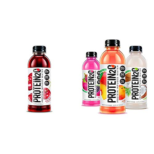 Protein2o Low-Calorie Protein Infused Water, 15g Whey Protein Isolate, Wild Cherry (16.9Ounce,Pack of 12) & Protein Infused Water, Flavor Fusion Variety Pack (16.9 Oz, Pack Of 12)