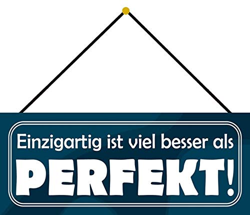 Schatzmix Blechschild Einzigartig Besser als Perfekt Metallschild Wanddeko 27x10 m. Kordel Señal metálica, hojalata, Multicolor, 27x10 cm