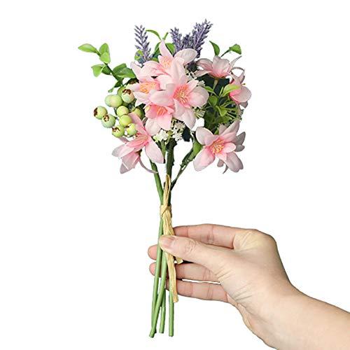 WanBeauty 1 bukiet sztuczny kwiat zielone liście zrób to sam ogród impreza wesele meble wystrój bukiet na przyjęcie weselne, dom biuro aranżacje stołowe, prezent świąteczny ciemnoróżowy