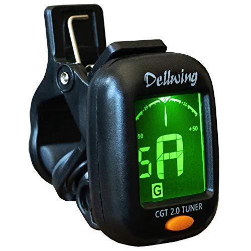 Dellwing - Accordatore Premium per chitarra, violino, ukulele, basso e cromatico, con morsetto, accordatore incluso Batteria – Ultra leggera.